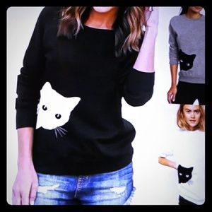 Black and White Cat Sweatshirt Sweater